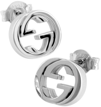 fe4e6150304 GUCCI Gucci earrings simple line interlocking G PIERCE logo women s  accessories 0702 rhodium finished sterling silver Studs earrings with interlocking  G ...