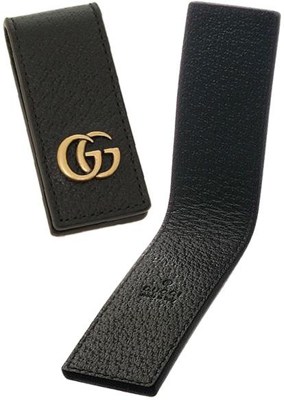 GUCCI グッチ マネークリップスクエア型押し革 ブラックGGマーモントロゴ アンティークゴールドカーフスキンレザーMENS GG MARMONT1000BKサイフ 財布 さいふエンボスロゴ マグネット式