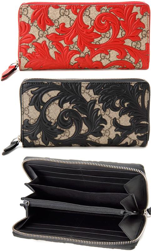 438e57d4432 Floral design round fastener long wallet アラベスクレザーラインエーベージュ X black beige X  hibiscus ...