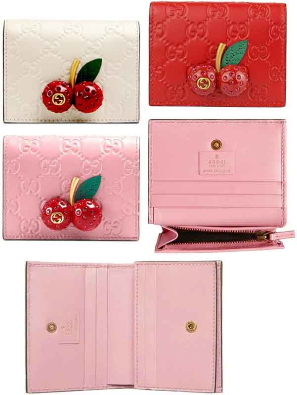 outlet store 19dc1 7e5c1 Coin case pink Gucci sima leather interlocking grip logo coin Perth compact  wallet 5878PK GG pattern icon wallet with the cherry charm card pocket ...