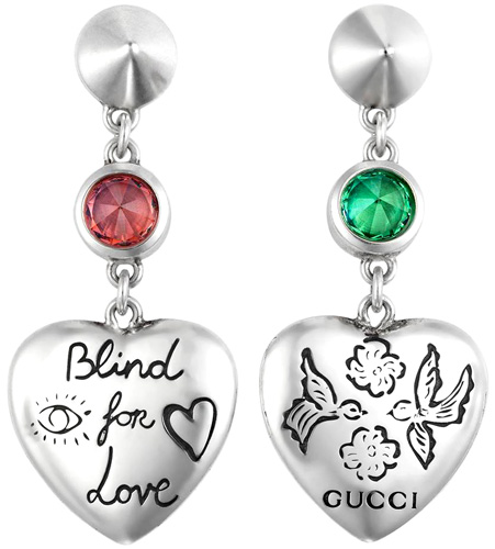 06c2329cc1b GUCCI Gucci heart shape drop pierced earrings sterling silver pierced  earrings green   pink zirconia flower   bird X eye   heart Blind for Love  engraving ...
