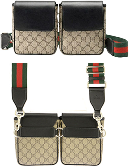 622b374f17b285 GUCCI Gucci hips bag emboss logo leather tag front desk W porch circle  Chida bulldog magnet ...