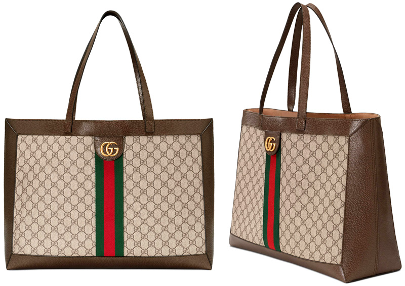 d489a247440 GUCCI Gucci wide tote bag antique gold double G logo coating GG canvas  green X red center Web line software GG スプリームキャンバスベージュ X brown bag bag ...