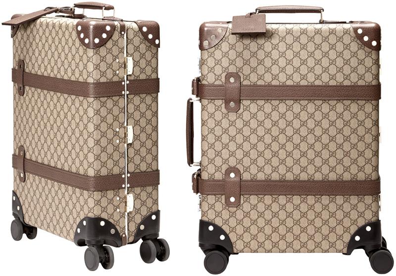 GUCCI グッチ 旅行用鞄キャスター付きキャリーバッグ 伸縮式トップハンドル GGスプリームコーティングキャンバスベージュ×ダークブラウン スーツケースIDタグ&360度ホイールブラウンレザートリムエボニー Wベルト 8358BEDBR