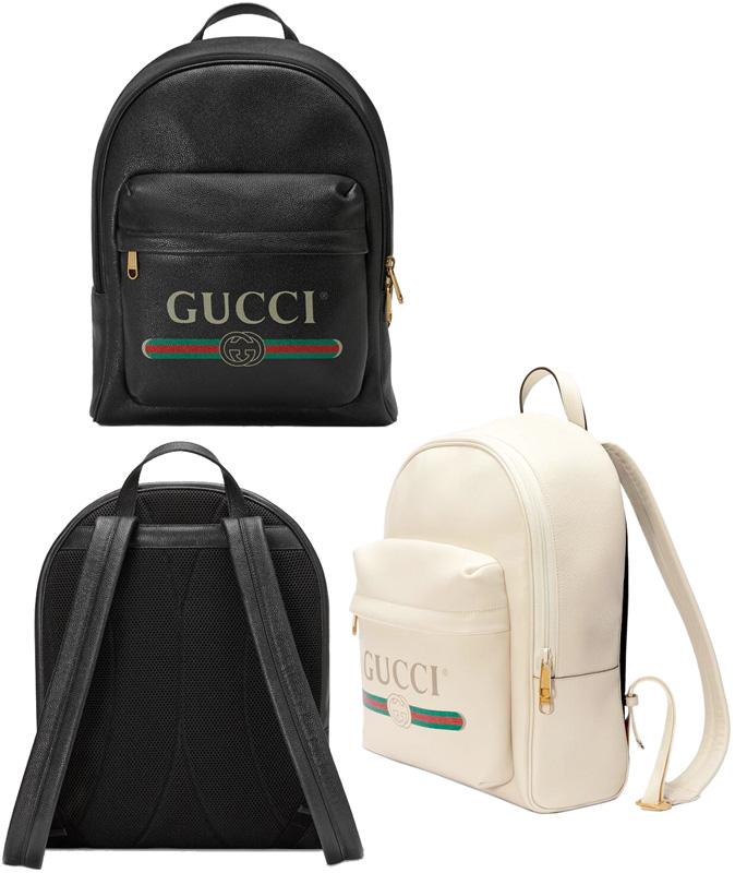 GUCCI グッチデイバック ヴィンテージロゴブラック ホワイトテクスチャードレザーテクニカルキャンバスバックパック リュックサックウエブライン グリーン×げっどメンズ レディース ユニセックス鞄 カバン BAG 8824WW8163BK