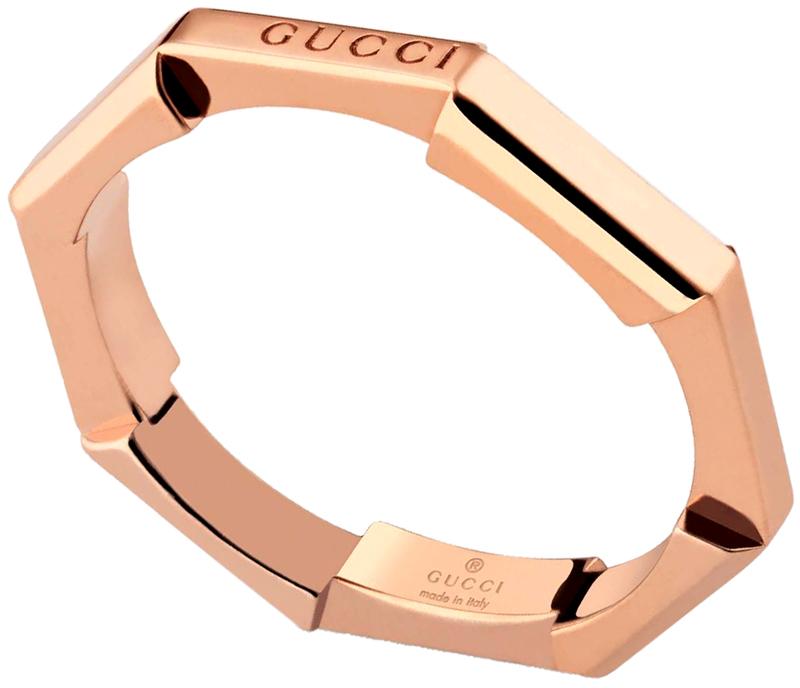 GUCCI グッチロゴ刻印オクタゴンリングK18 ピンクゴールドメンズ レディース 男女兼用 八角形キメる指輪 ペアリングとしてオススメK18 OCTAGON RING 5702PGD#617