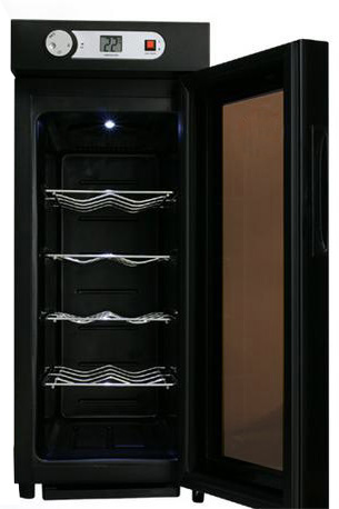 ご家庭でワインを静かに美味しく保管10本収納用ワインセラー設定温度デジタル表示付きLED照明ライト内蔵搭載[WINE CELLAR]