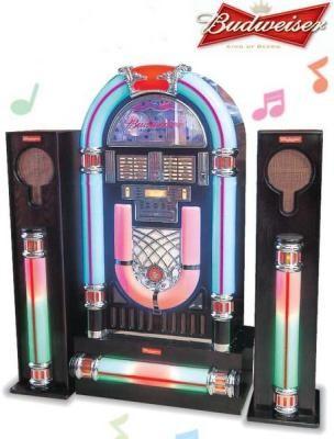 バドワイザー ビッグジュークボックスBudweiser BIG JUKEBOX音と光が奏でるスピーカーからの音色と大きな色とりどりのネオン管お部屋やお店のディスプレーとしても最高USBやSDカードにも対応!iPodの接続可能CDプレイヤー&AM/FMラジオ