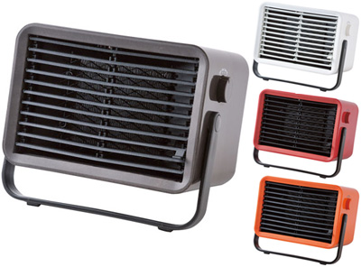持ち運び自由のミニヒーターレッド オレンジ ブラウン ホワイトインテリア暖房器具コンパクトセラミックファンヒーター送風もできてあったかあったかリビングや脱衣所、寒い日のベランダでの洗濯物の物干しの際など大活躍!持ち運びも簡単な暖房器具