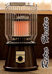 空気を汚さず温まる電気ヒーター直ぐに暖まる電気ストーブリビングや脱衣所に置けるレトロデザイン暖房器具完全ガードカバー付きHEATER取っ手付きで持ち運びも楽々転倒時には安全オートオフ機能洋室だけでなく和室にもなじも馴染む