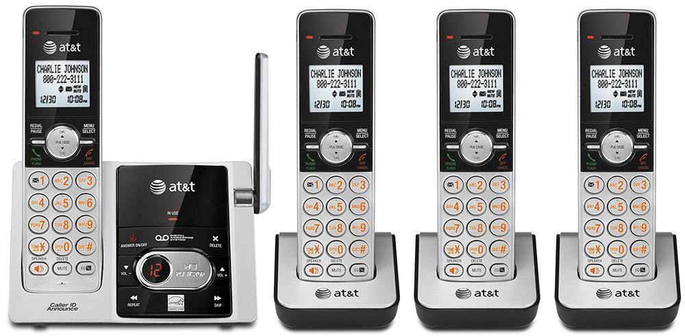 AT&T デジタルコードレスフォン盗聴がされ難く、クリアな音声通話が可能なDECT6.0方式採用デジタル留守電話機能付き電話機親機もコードレス シルバー×ブラック子機増設可能CL82303 CL82203 Cordless Telephone + CL80103