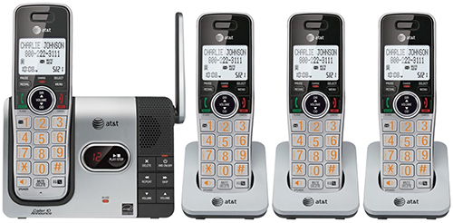 AT&T LCDディスプレイオレンジナンバー デジタルコードレスフォン盗聴がされ難くクリアな音声通話が可能なDECT6.0方式採用デジタル留守電話機能付き電話機4ハンドセット ブラック×シルバー増設用子機 くびれライン50件メモリー 留守録最大22分