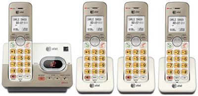 AT&T デジタルコードレスフォン1.8インチLCDディスプレイデジタル留守番電話機 シャンパンベージュ×オフホワイト盗聴がされ難くクリアな音声通話が可能なDECT6.0方式採用親機もコードレスハンドセット増設可能5台までCordless Telephone