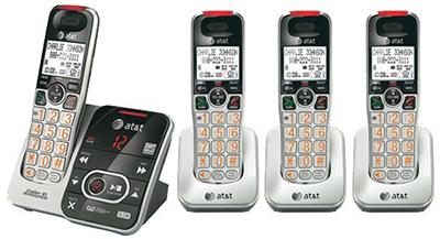 AT&T デジタルコードレスフォン盗聴がされ難く、クリアな音声通話が可能なDECT6.0方式採用デジタル留守電話機能付き電話機親機もコードレス ブラック×シルバー ディスプレイ子機増設可能ハンドセット 最大12台まで増設可能Cordless Telephone