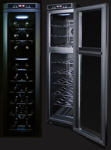 1ドアコンパクト大容量60L縦長スリムでありながら最大収納18本庫内にLED庫内ライト付きワインセラー トールシャンパンやドイツボトルも入る!日本酒や焼酎の酒庫に紫外線カット二重ガラスドアロングボトルも保存可能 シンプルプロダクツデザイン