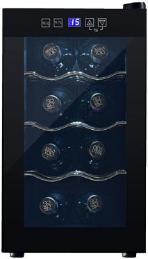 8本収納コンパクトワインセラー庫内LED照明灯で優しい光で照らす低振動ペルチェ方式の静音設計ご家庭でワインを静かに美味しく保管フラットタッチパネル採用デジタル設定温度ワインクーラー ワイン保冷庫カーブドワイヤー WINE CELLAR 25L
