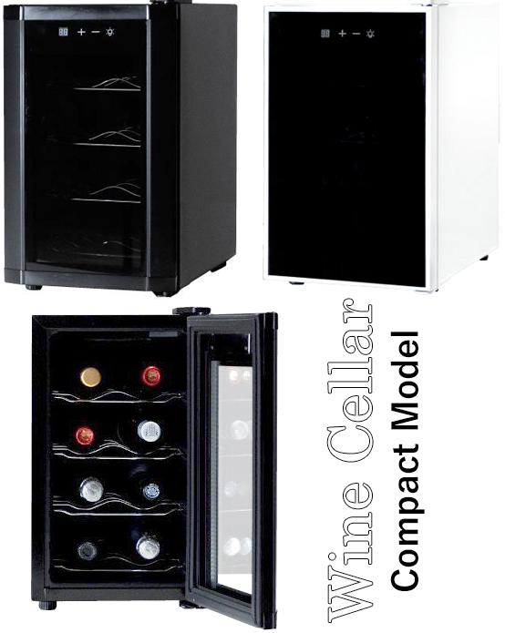 8本収納コンパクトワインセラー庫内LEDライトで優しい光で照らすブラック ホワイト低振動ペルチェ方式静音設計ご家庭でワインを静かに美味しく保管タッチパネルデジタル設定温度ワインクーラー ワイン保冷庫カーブドワイヤーWINE CELLAR 22L