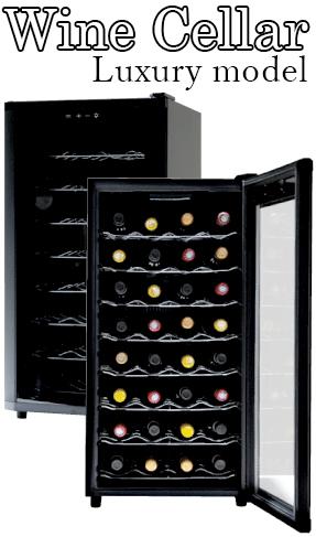 8本収納コンパクトワインセラーブラック 低振動ペルチェ方式静音設計32本のワインをコレ1台でご家庭でワインを静かに美味しく保管タッチパネルデジタル設定温度ワインクーラー ワイン保冷庫カーブドワイヤーWINE CELLAR COOLER 75L