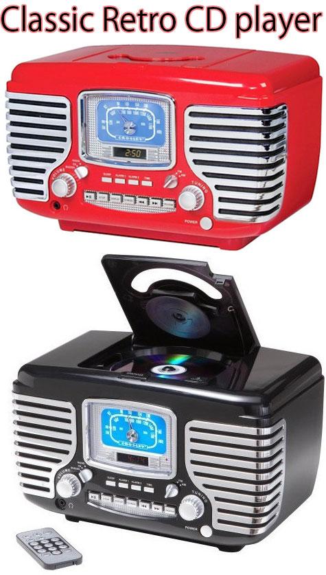 レトロアンティークCDプレイヤーリモコン&ダイナミックフルレンジステレオスピーカー搭載レッド ブラック ×クロームクラシックオーディオ目覚まし時計にもなるアラーム機能Classic Retro CD Player