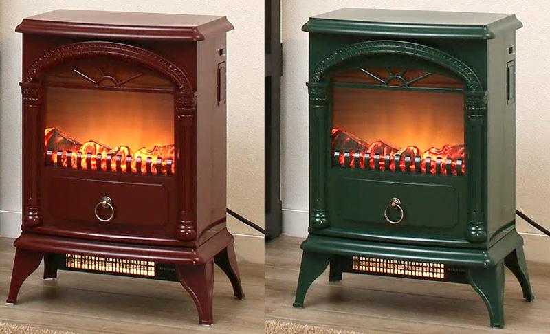 見ているだけでも暖かい電気式即暖温風暖炉型ファンヒーター北欧の冬のリビングの暖炉をモチーフレトロアンティークヒーターグリーン ワイレッド ブラック アイボリー ダークブラウン薪が燃えているような臨場感ライティング無段階調整可能