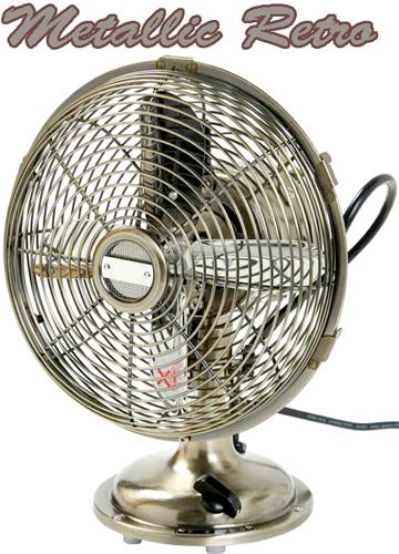 レトロスタイルデスクファンシルバーブロンズ 卓上扇風機クーラーと併用で節電&乾燥&熱中症対策首振り機能付きファン空気の入れ替え&循環にリビング、脱衣所、オフィスに三段階風量調整可能どこにでも置けるコンパクトサイズ