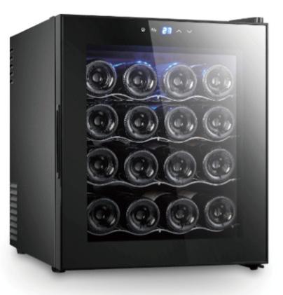 庫内LED照明灯で優しい光で照らす低振動ペルチェ方式の静音設計UVカットガラスで紫外線をカットご家庭でワインを静かに美味しく保管フラットタッチパネル採用16本収納コンパクトワインセラー設定温度デジタル表示ワインクーラー ワイン保冷庫