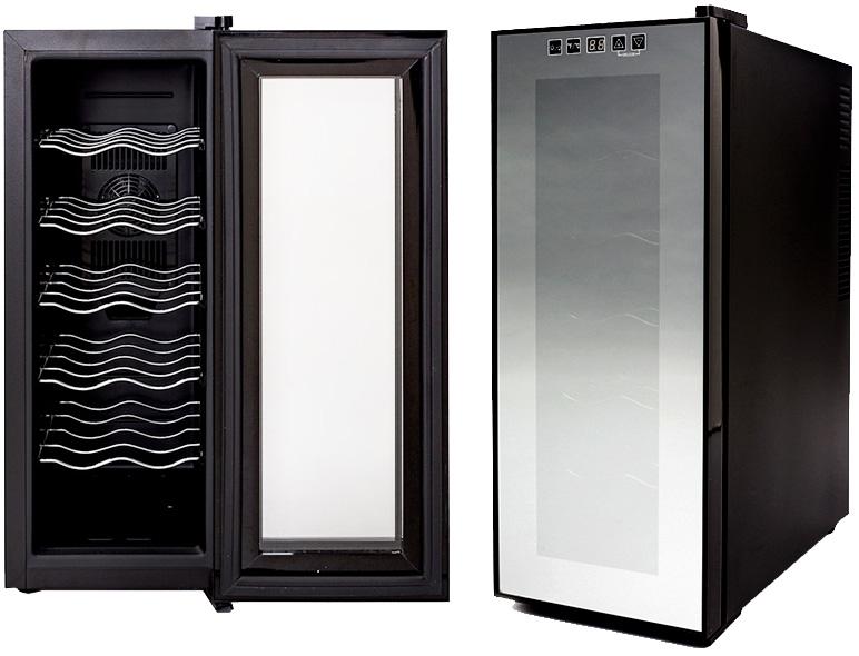 ご家庭でワインを静かに美味しく保管12本収納用ワインセラー設定温度デジタル表示付きLED照明ライト内蔵搭載1ドア タッチパネル ミラーガラスシルバーミラー×ブラック取り外し可能5段ラックSTALL WINE CELLAR