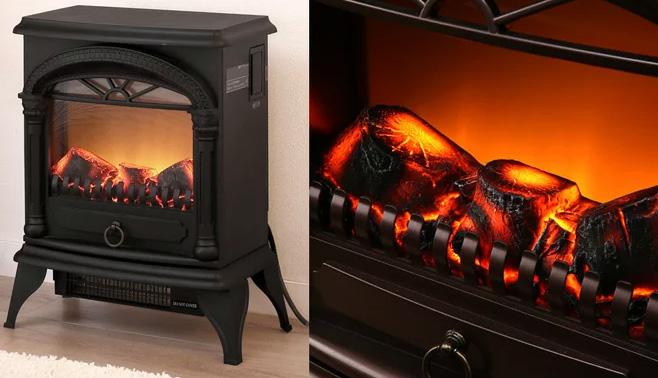 見ているだけでで暖かい電気式即暖温風暖炉型ファンヒーター北欧の冬のリビングの暖炉をモチーフレトロアンティークヒーターダークブラウン ブラック アイボリー薪が燃えているような臨場感ライティングの強さも無段階調整可能 暖房器具