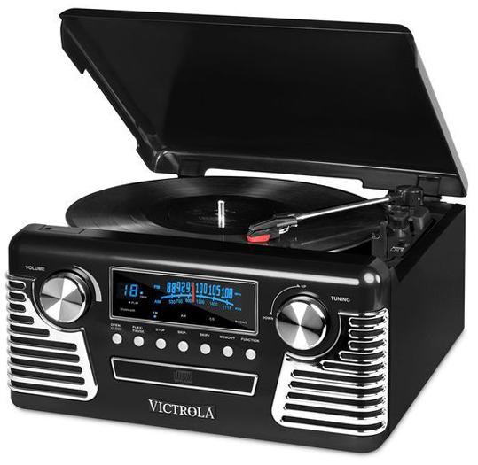 Bluetooth搭載でスマホの音楽を流せるレコードプレイヤーが付いたCDプレイヤーレトロクラシックオーディオプレイヤーリモコン付きステレオコンポブルートゥースでストリーム再生ドーナツ盤から奏でるアナログ音を再び楽しみたい方にオススメ