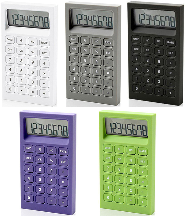LEXON RUBBER Calculatorレクソン デスクトップカリキュレーター8桁表示計算機 通貨換算機能付き電卓ホワイト ブラック バンブーグリーン パープル グレー統一感のある配色のグラデーション無駄を省いたシンプルでスタイリッシュデザイン