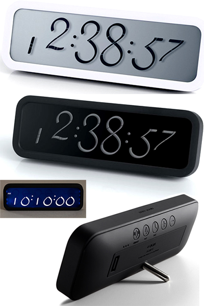 LEXON DESK ALARM CLOKCレクソン 目覚まし時計 LCDアラームクロックタイポグラフィ置き時計11個のセグメントで数字を表現アラーム&スヌーズ機能背面のアラームなどの設定ボタンにまで拘ったデザインバックライト機能付き ABSラバー塗装