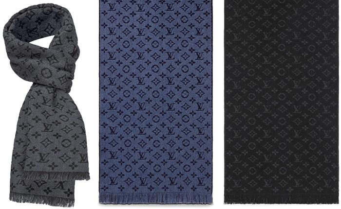 LOUIS VUITTON ルイヴィトンメンズマフラー モノグラムパターンルイビトン ウールマフラーエシャルプモノグラムクラシックブラック ダークグレー ブルー ライトグレーカジュアルジャケット&フォーマルトリミングフリンジLVロゴ