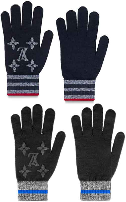 LOUIS VUITTON ルイヴィトンジャカード織りメンズ手袋 ブラックモノグラムエクリプスパターン ストライプリストタブトリプルグレーライン LVロゴゴンモノグラムストライプルイビトン ウールグローブレッドラインエッジWOOLKNITGLOVES