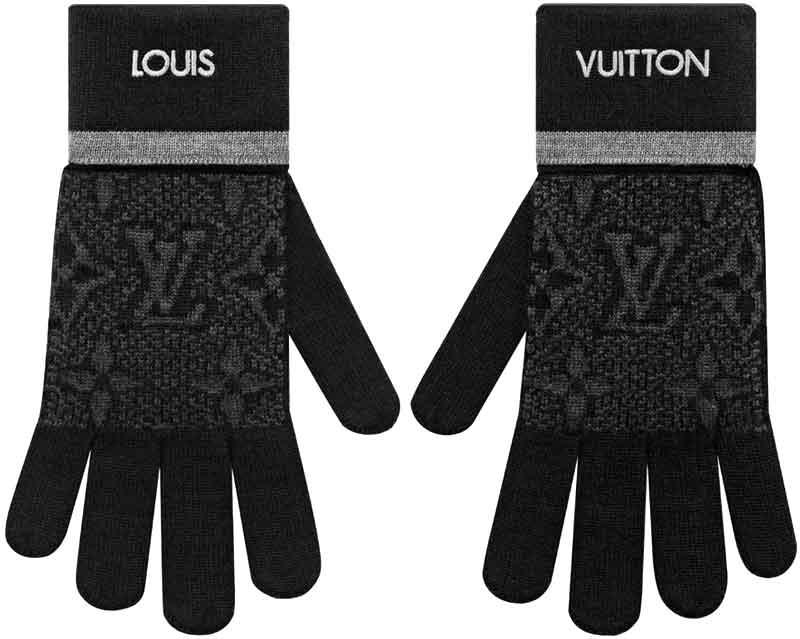 LOUIS VUITTON ルイヴィトンメンズ手袋 刺繍ロゴモノグラムエクリプスパターングレーライン LVロゴゴンマイモノグラムエクリプスルイビトン ウールグローブカジュアルジャケット&フォーマルMYMONOGRAM ECLIPSEWOOLGLOVES