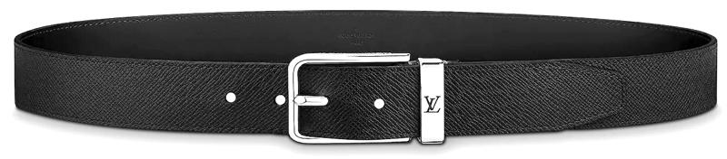 LOUIS VUITTONルイヴィトン メンズレザーベルトLVロゴ刻印メタルベルトループサンチュールポンヌフ35MMブラックタイガレザー×シルバートップロゴ刻印スクエアバックルライニングカーフレザー