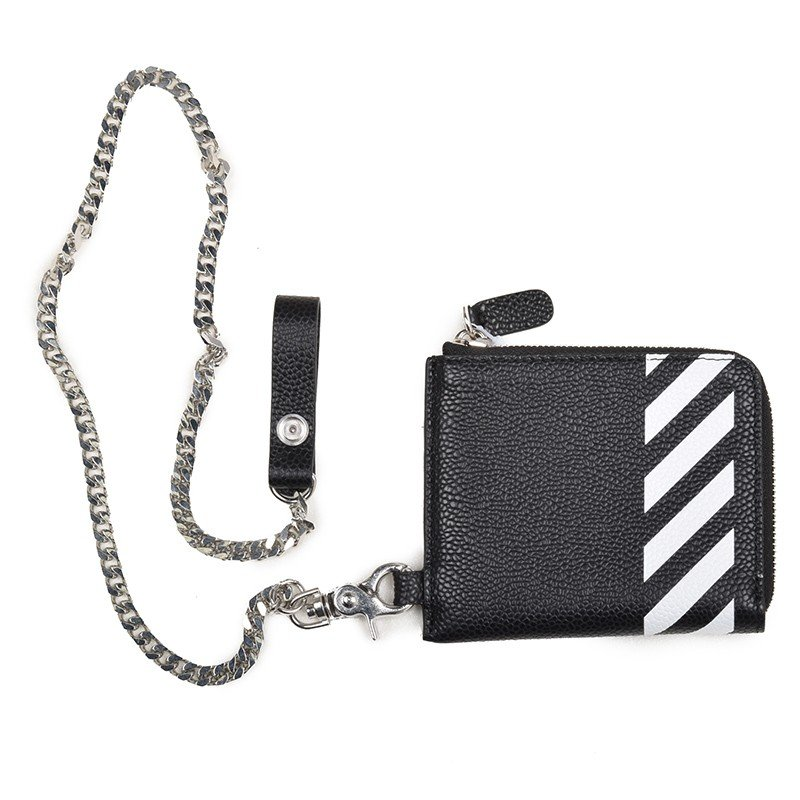OFF-WHITE オフホワイト ジップチェーンウォレットミニ 財布 イタリア正規品 ブラック レザー BLACK DIAG ZIP CHIN WALLET