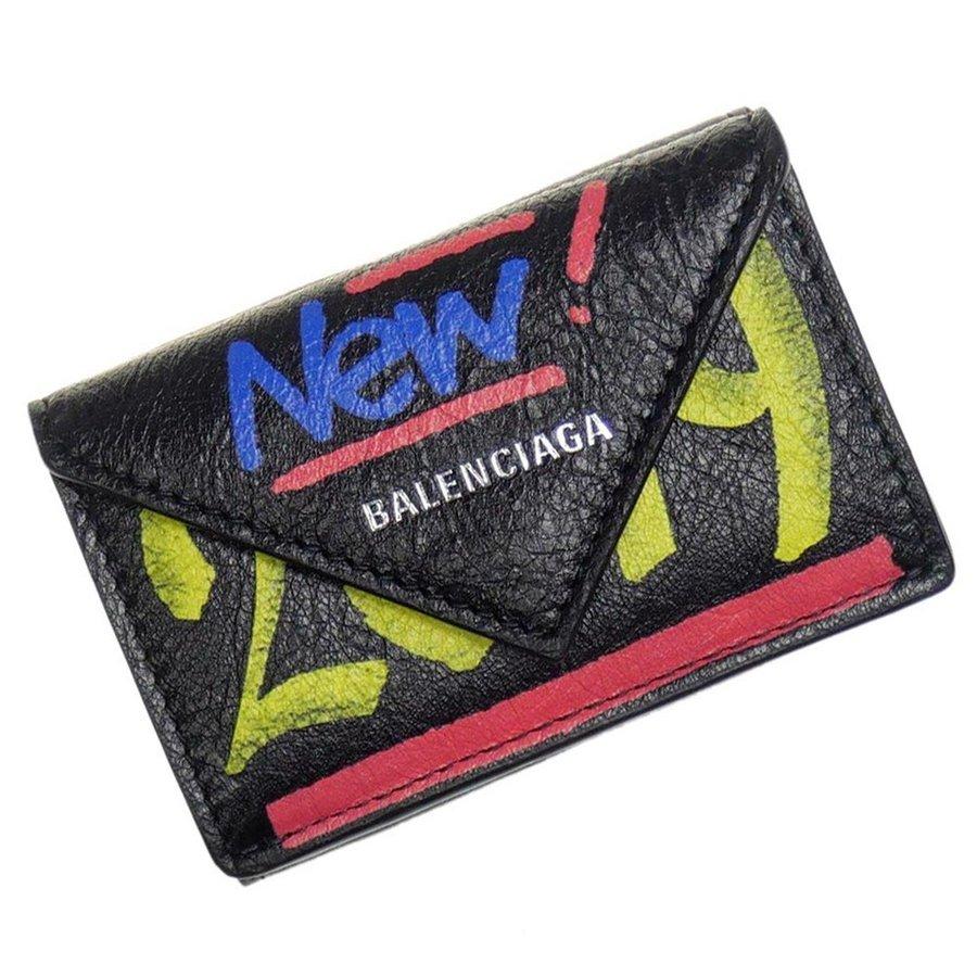 バレンシアガ BALENCIAGA 三つ折財布(小銭入れ付き)PAPIER MINI WALLETブラック BLACK手のひらサイズのミニウォレット