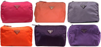 63fe80bd386f PRADA Prada cosmetic case wristlet triangular slim 1N0011 TESSUTO black  yellow light green Navy blue grey Pink Purple ivory Orange Purple grey dark  blue ...