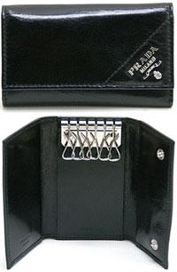 PRADA プラダ6連キーケースメンズ キーホルダーブラック NEROレターロゴ&バープレート2M0025 VITELLO SHIINE