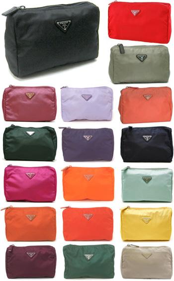 445e88692d10 PRADA Prada cosmetic case wristlet cosmetic pouch triangular slim 1N0011  VELA ZMX black red Pink Purple green yellow light purple light green yellow  orange ...