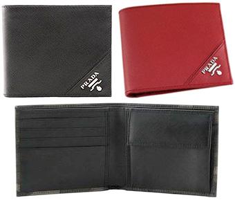 52295631dcfe PRADA prada mens rubx bi-fold wallet 2M0738 SAFFIANO METAL black NERO red  RUBINO エッジ ...