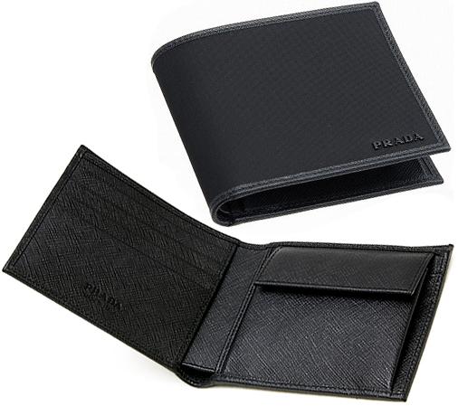 プラダ PRADA小銭入れ付きメンズ二つ折財布TESSUTO NERO F0002ブラック ブラックロゴテスートナイロン 2つ折り財布 ネロサイフ さいふ ウォレット