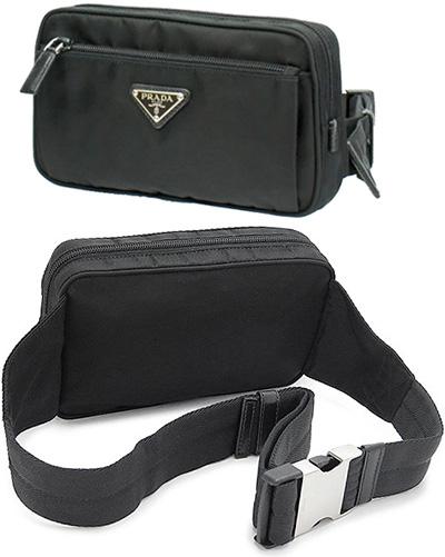 1b6bca89b3c2a8 PRADA Prada ウエストバッグバッグ hip bag triangular slim black NERO V210 TESSUTO  MONTAGN nylon bag