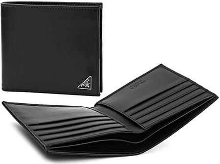 PRADA プラダエッジ三角ロゴプレート付き二つ折り財布 札入れサフィアノカーフレザー ダークブルーヴィッテロスムースカーフレザー NERO2つ折り財布 カードケースメンズ レディース 小銭入れ無しサイフ さいふ ウォレット パース