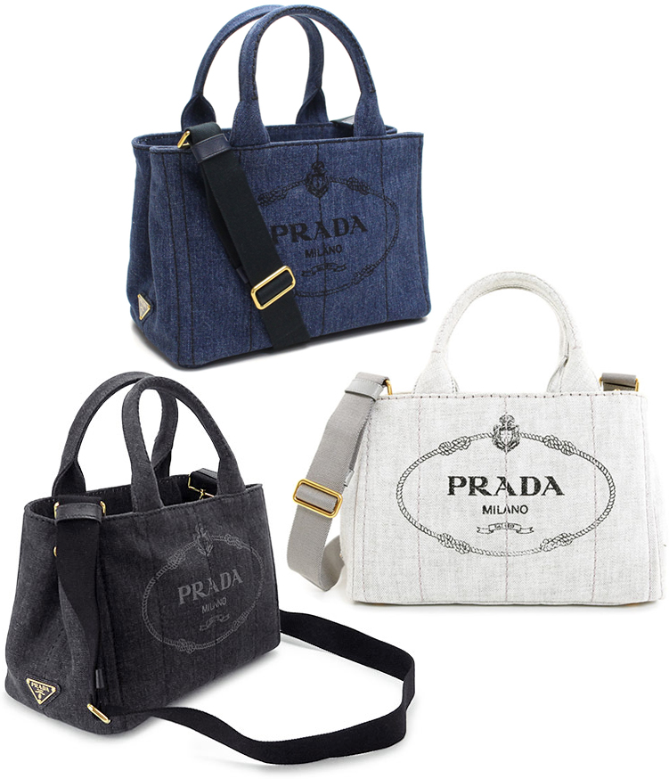2e0da53aa654 Take PRADA Prada handbag 2WAY canvas shoulder bag side triangle logo plate  logo crest print denim ...