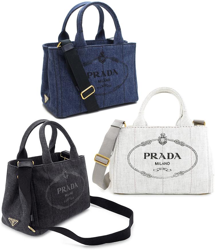 fc3b6326ad Take PRADA Prada handbag 2WAY canvas shoulder bag side triangle logo plate  logo crest print denim blue-black beige pink orange yellow brown white red  ...