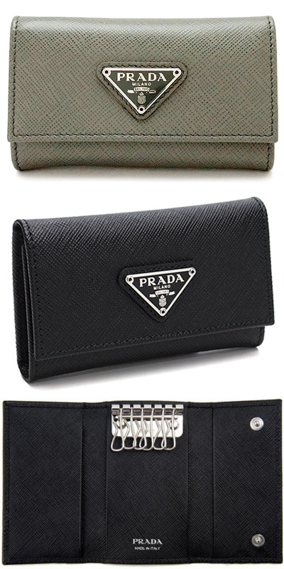 be863e2b52d PRADA Prada six key case triangle ロゴプレートシルバーブラックサフィアノカーフレザ- SAFFIANO
