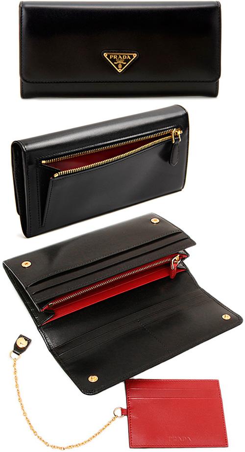 PRADA プラダ 小銭入れ付き二つ折り長財布ボックスカーフレザー三角ロゴプレート ゴールド ブラック取り外し可能チェーン付きレッドパスケース付き2つ折り長財布さいふ サイフ ロングウォレットF0D9A NERO×FUOCO