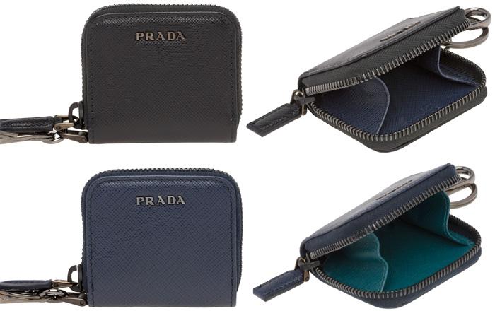 eccbf435192b PRADA プラダ 小銭入れラウンドファスナーコインケースメタルロゴ ブラック×ネイビー ダークネイビー財布 サフィア