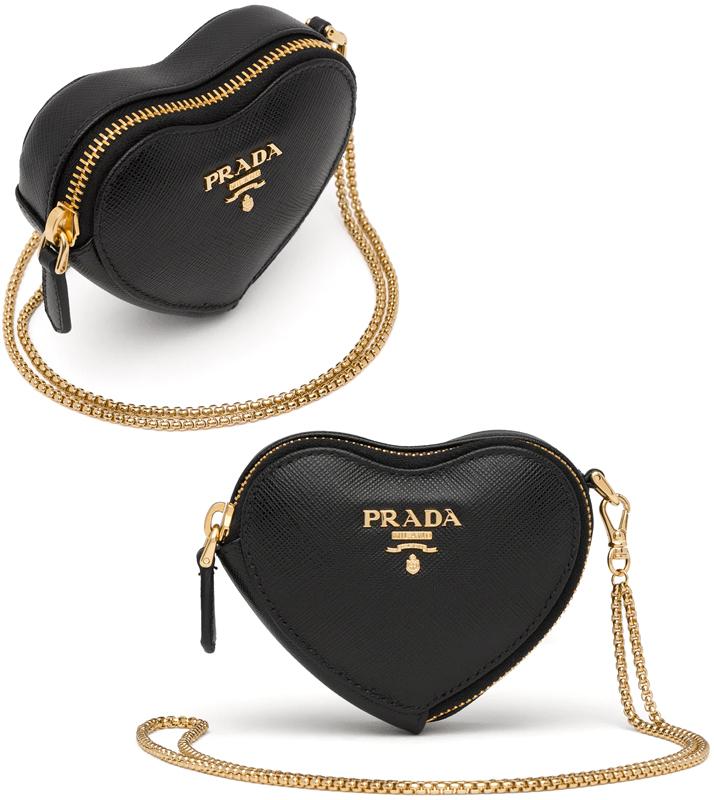PRADA プラダとにかくかわいいハート型フォルムショルダーコスメポーチ 小物入れブラックサフィアーノレザー立体3Dハートミラノメタルロゴメタルチェーン化粧ポーチMETALF0002NERO 鞄 BAG バック